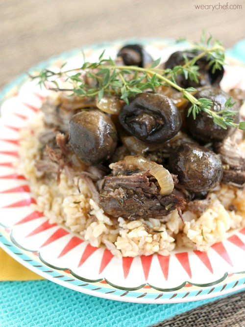 Slow Cooker Beef Roast with Rosemary and Thyme - Made from scratch, easy, and delicious!