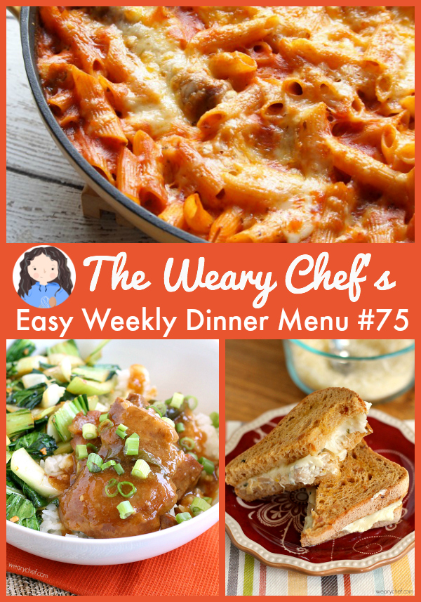 Easy Weekly Dinner Menu 75 - Chicken Adobo, Artichoke Dip Grilled Cheese Sandwiches, BBQ Chicken Salad, and lots more!