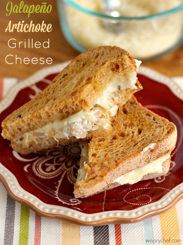 Jalapeño Artichoke Dip Grilled Cheese Sandwich - A delicious vegetarian sandwich recipe for dinner or lunch!