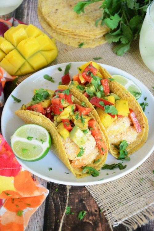 Coconut Lime Shrimp Tacos with Mango, Red Pepper & Avocado Salsa | The Housewife in Training Files