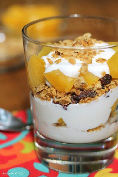 Peaches and Creamy Yogurt Parfait