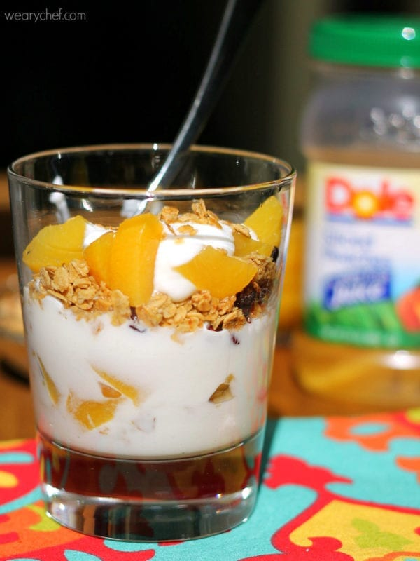 Peaches and Cream Yogurt Parfaits - A quick, easy, healthy breakfast idea!