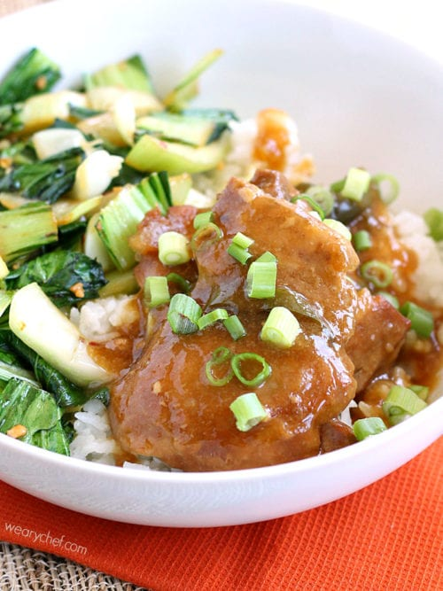 Slow Cooker Chicken Adobo - A deliciously easy dinner idea (that tastes better than it looks)! #crockpot