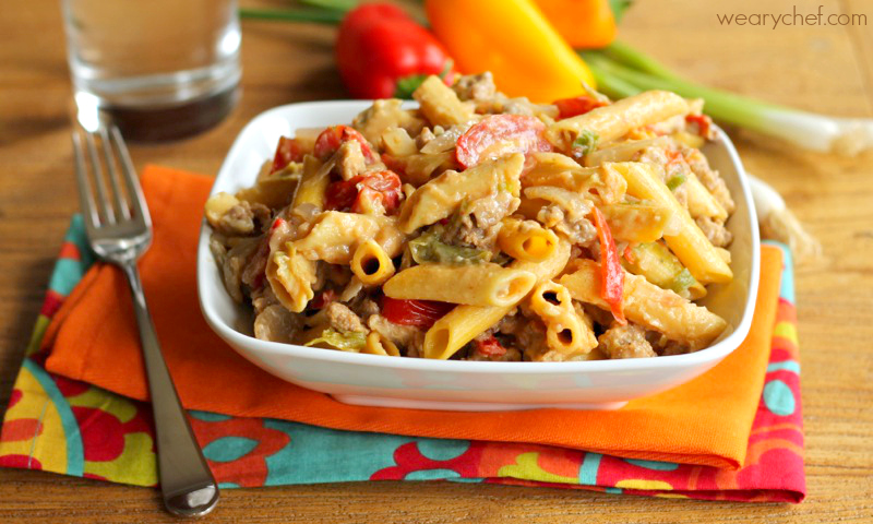 Snakebite Pasta - A spicy sausage and pasta recipe ready in under 30 minutes!