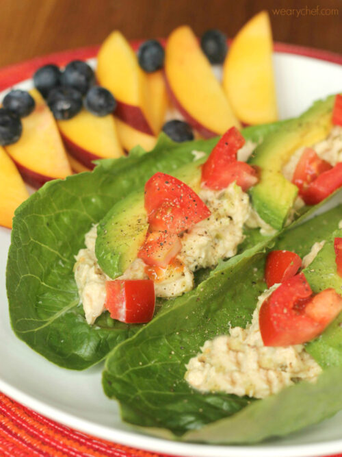 Tuna Salad Lettuce Wraps - A quick and healthy lunch! #glutenfree
