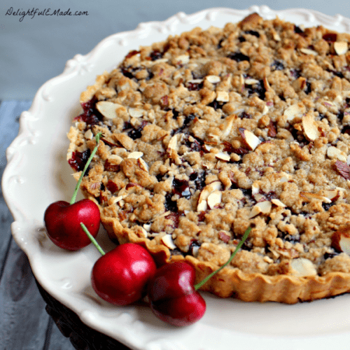 Cherry Almond Crumble Tart by Delightful E Made