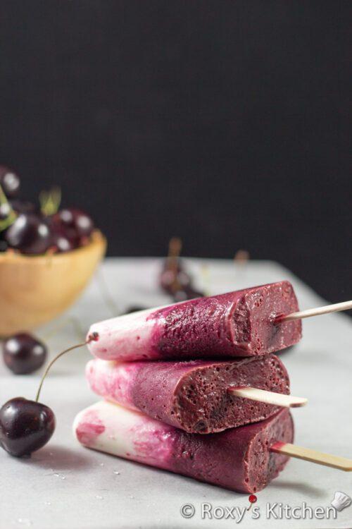 Cherry Vanilla Yogurt Popsicles by Roxy's Kitchen