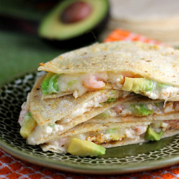 Double Cheese Avocado and Shrimp Quesadilla