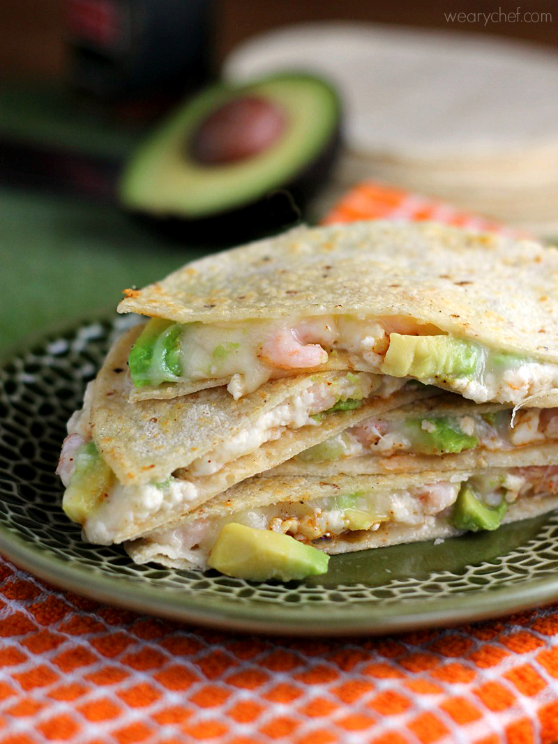 Double Cheese Avocado and Shrimp Quesadilla - The Weary Chef