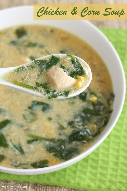 Chinese Chicken and Corn Soup - This healthy, filling soup is just right for a cool evening or nursing a summer cold!