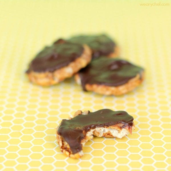 Chocolate Peanut Butter Rice Treats - Three ingredients, no baking, and very delicious! #glutenfree