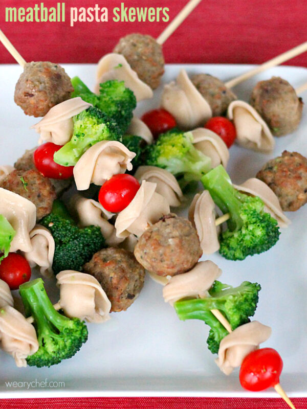 Meatballs and Pasta Skewers - A kid-friendly dinner or perfect party food! - wearychef.com
