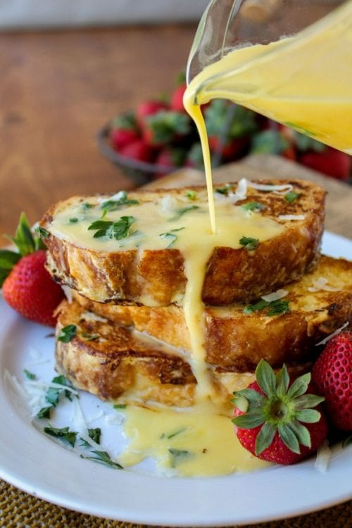 Savory Parmesan French Toast with Hollandaise Sauce by The Food Charlatan