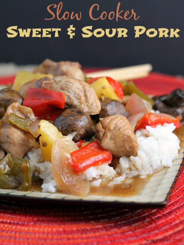 Slow Cooker Sweet and Sour Pork - Skip delivery and enjoy this easy Chinese dinner right from your crockpot! - wearychef.com