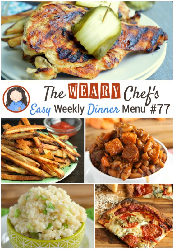 Easy Weekly Dinner Menu featuring Easy Jambalaya, Franks and Beans, Asian Slow Cooker Beef, Cajun Oven Fries, and lots more! - wearychef.com