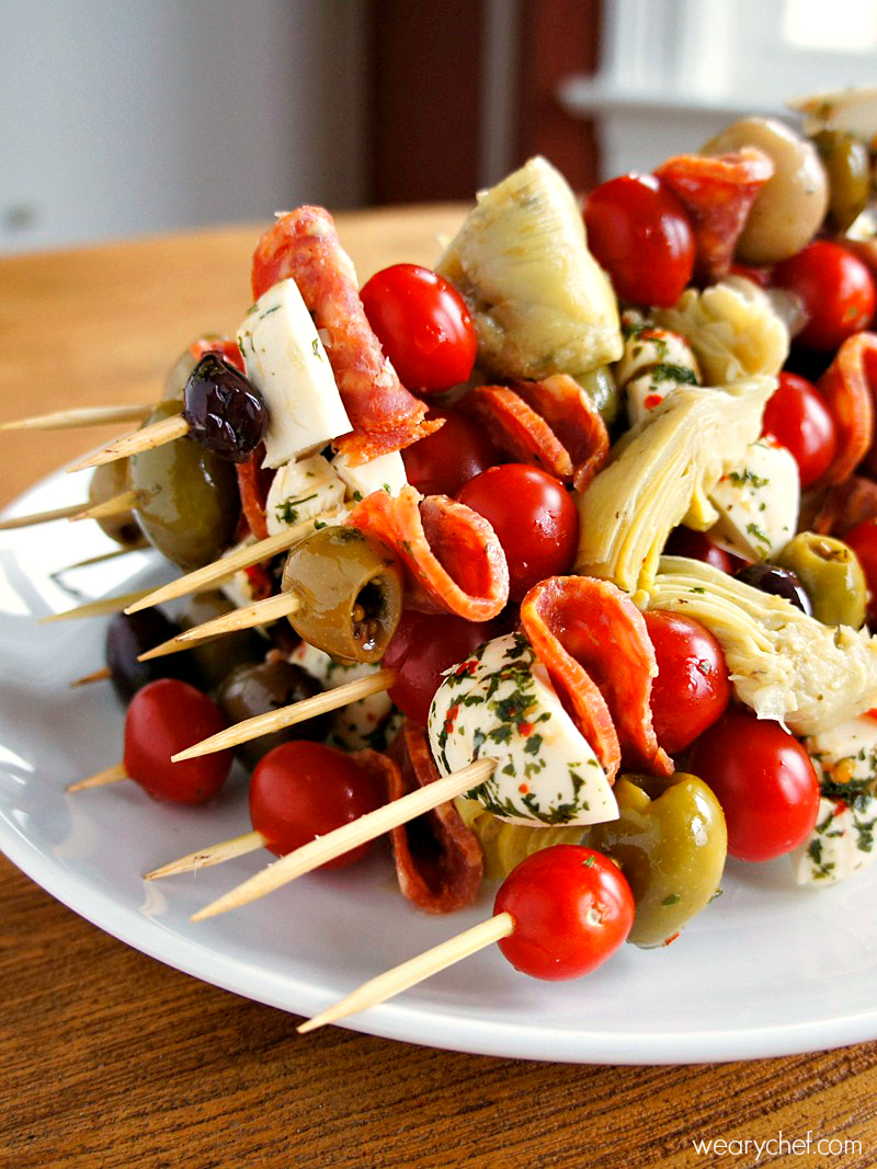 Antipasto Skewers An Easy Party Food The Weary Chef
