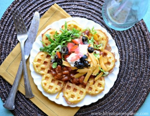 Cornbread Waffles with Chili   Bless this Mess