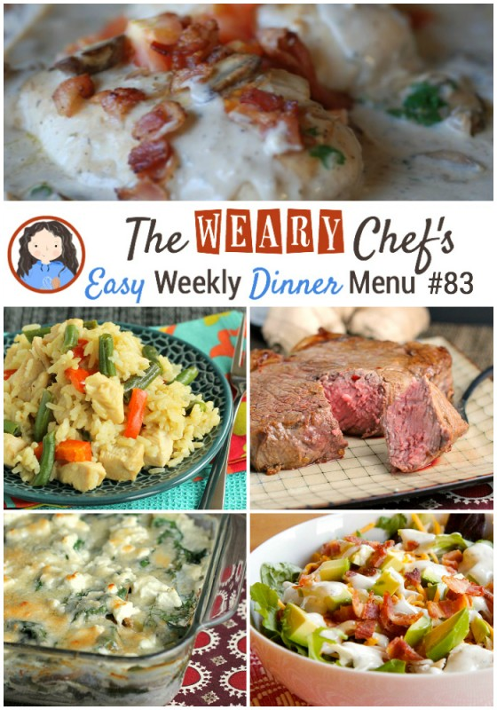 This week's easy weekly dinner menu features Thai Green Curry Skillet, Juicy Oven Steak, Scalloped Potatoes with Goat Cheese, Easy Meatballs and Gravy, and lots more!