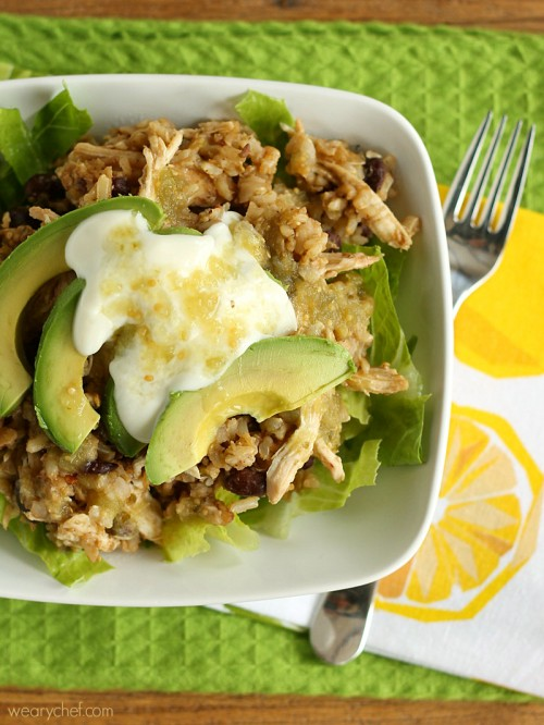 One Pot Green Chicken Burrito Bowls - An easy Mexican dinner idea!