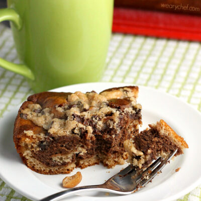 Marbled Chocolate Coffee Cake with Chocolate-Cashew Crumb Topping
