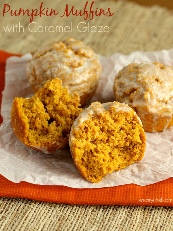 Pumpkin Muffins with Caramel Glaze - Get an easy breakfast recipe and find out what FODMAP foods are and why they matter if you have gluten intolerance! - wearychef.com