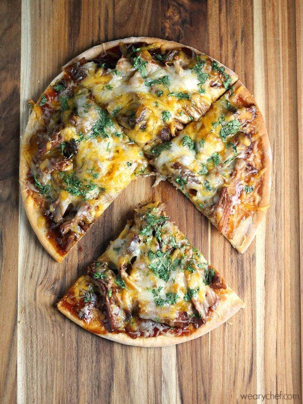 Slow Cooker Pork BBQ Pizza - wearychef.com