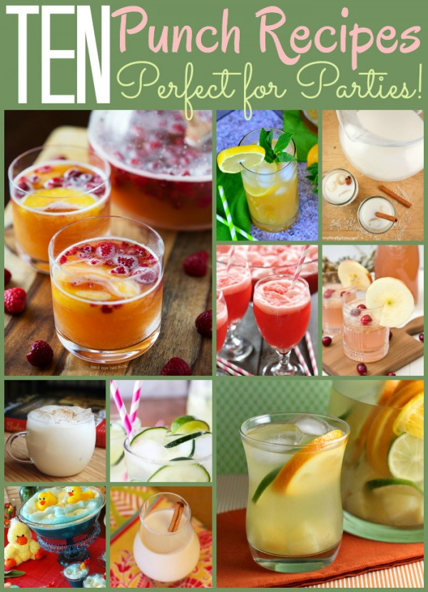 10 Party Punch Recipes! - Creamy, fruity, alcoholic or kid friendly. There's something for everyone in this fun drink roundup!