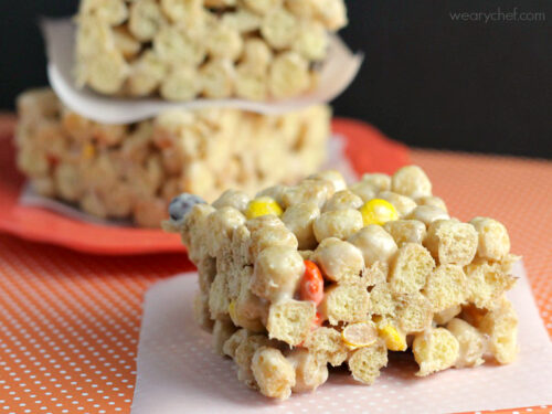 These easy cereal bars made with Peanut Butter Crunch and loaded with Reese's Pieces are a peanut butter lover's dream come true!