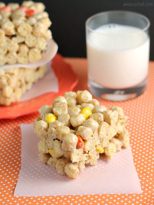 Reese's Pieces Peanut Butter Crunch Bars   The Weary Chef