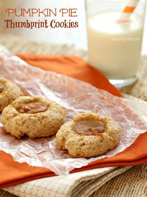 Pumpkin Pie Thumbprint Cookies - These simple, lightly sweet cookies taste like Fall!