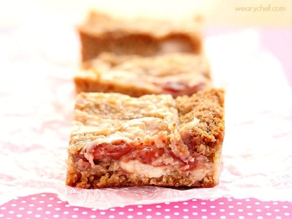 Strawberry Cheesecake Blondies by The Weary Chef