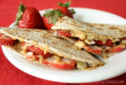 Strawberry Peanut Butter Quesadillas | Two Healthy Kitchens