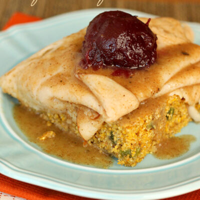 Open-Faced Thanksgiving Turkey Sandwich over Cornbread