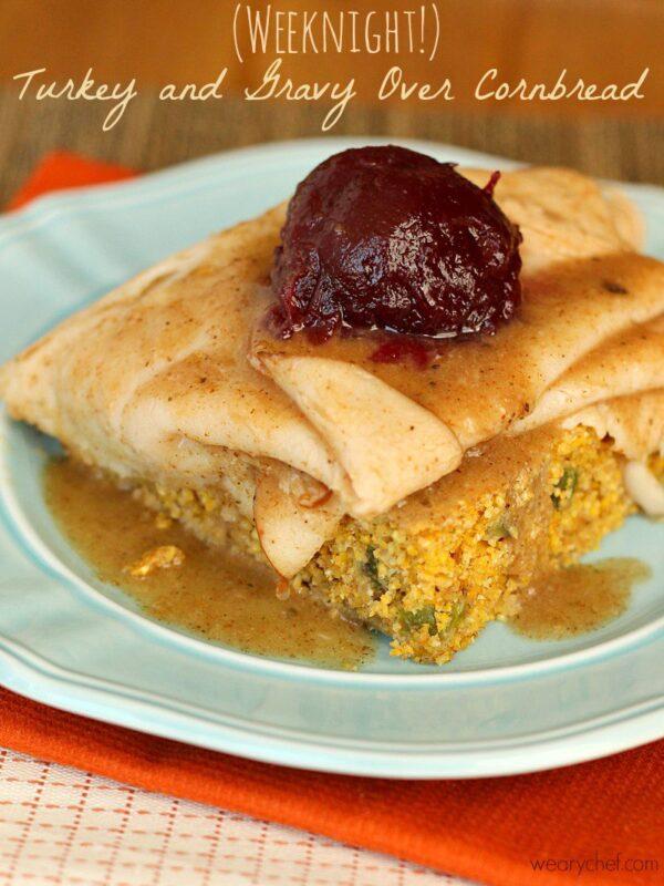 Open-Faced Thanksgiving Turkey Sandwich over Cornbread - Get the taste of Thanksgiving dinner in an easy weeknight dinner!