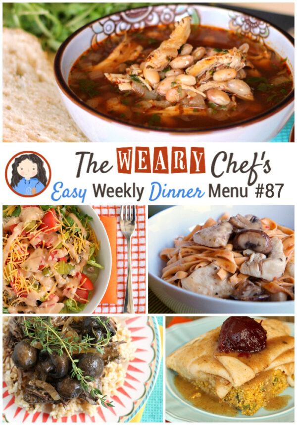 This easy weekly dinner menu features Weeknight Thanksgiving Turkey Sandwiches, Cheeseburger Salad, Skillet Chicken Marsala, and lots more!