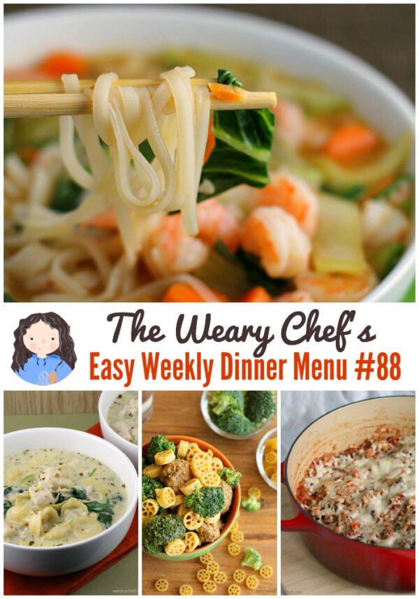 This week's menu features seven one-pot recipes to make dinnertime extra easy! Don't miss Cajun Jambalaya, Mediterranean Pasta, Asian Noodle Soup, Cabbage Roll Casserole, and lots more easy dinner ideas!