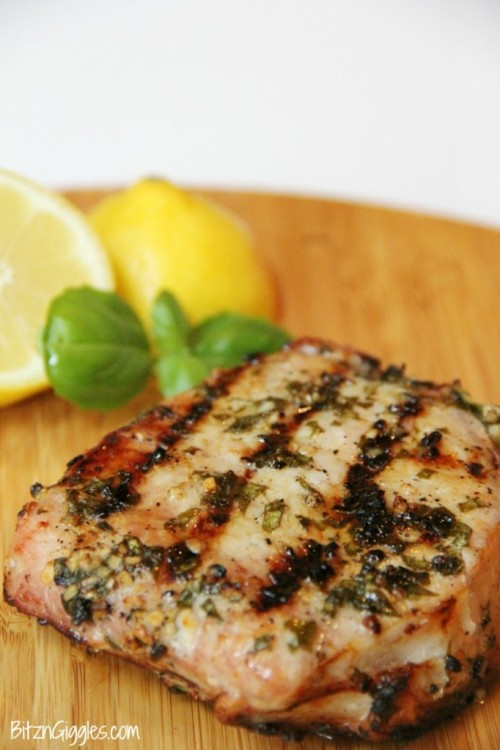 Lemon Basil Grilled Pork Chops | Bitz & Giggles