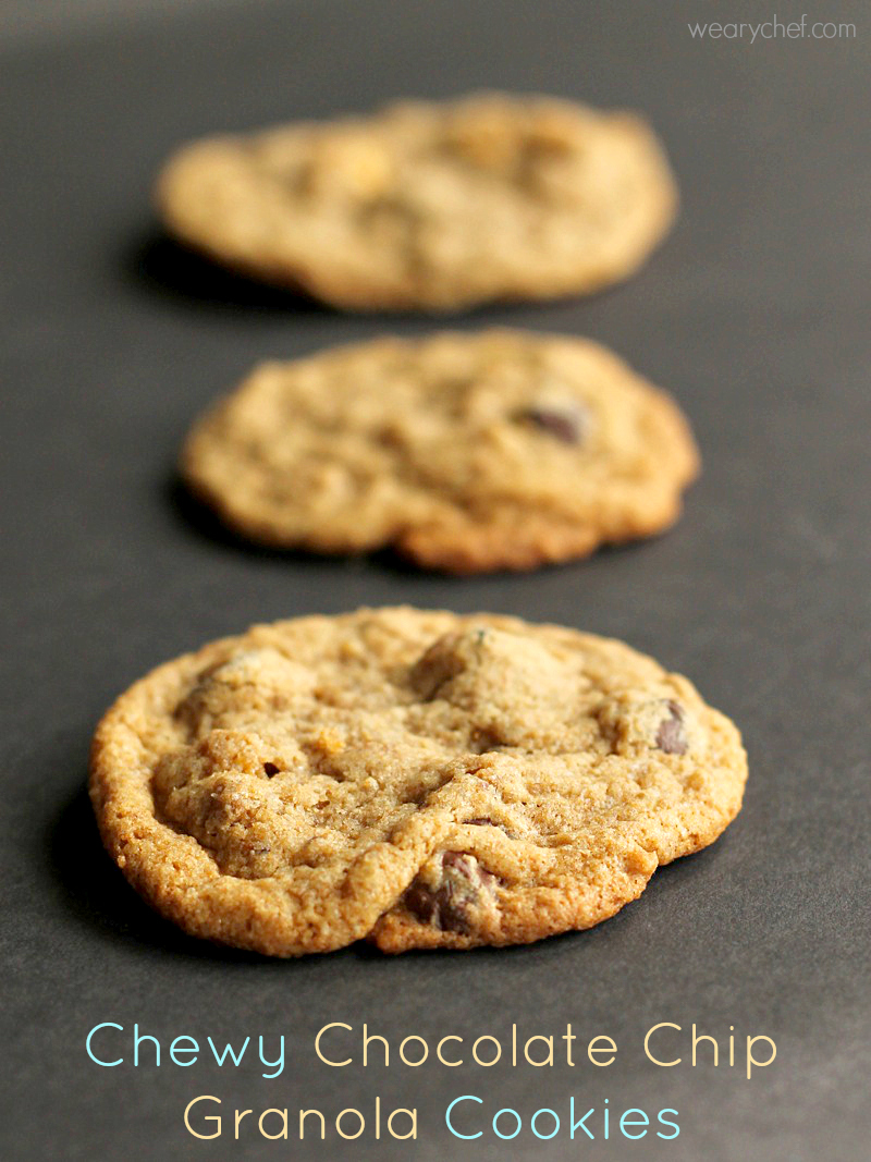 Chewy Chocolate Chip Granola Cookies - The Weary Chef