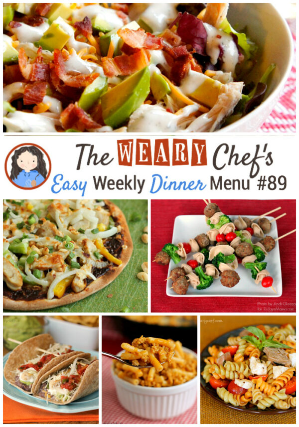 Easy Weekly Dinner Menu featuring Thai Pizza, Ranch Club Salad, 7-Layer Tacos, Taco Macaroni, and lots more!