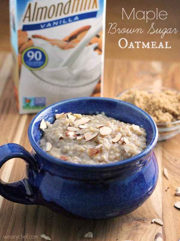This homemade maple brown sugar oatmeal is way better than what you get out of a packet and dairy free!  #TasteSilkAlmond