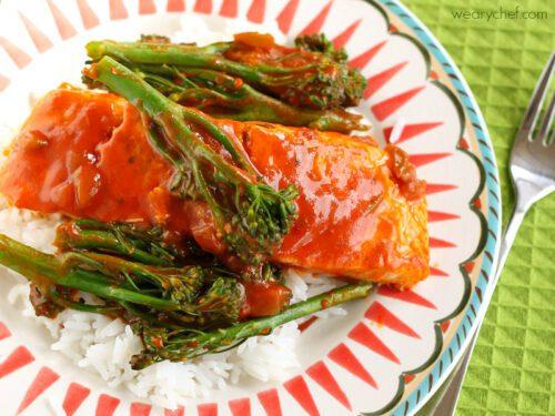 15-Minute Latin Veracruz Salmon with Imagine Simmer Sauce #ImagineNation #PanwithaPlan
