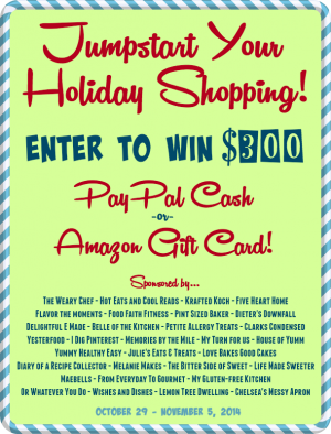 Jumpstart Your Holiday Shopping with a $300 Giveaway! - wearychef.com {10/29-11/5/2014}
