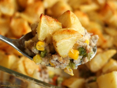 (Good-for-You) Meat and Potatoes Casserole - Ground beef or turkey is sauteed with vegetables, covered in potatoes, and smothered in a light, creamy sauce. Bake it up for a dinner your family will love!