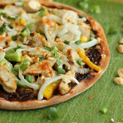 Shortcut Thai Chicken Pizza with Peanut Sauce