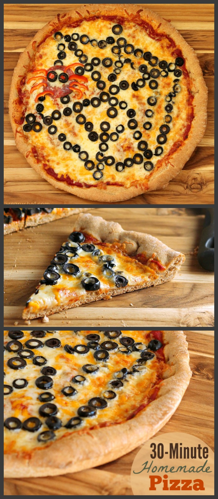 This spiderweb pizza makes a fun and easy Halloween dinner! Get creative and change up the toppings for different occasions! #spiderweb #halloween #pizza
