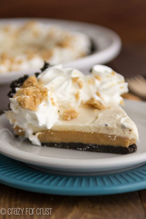 Peanut Butter Cookie Dough Cheesecake Pie | Crazy for Crust