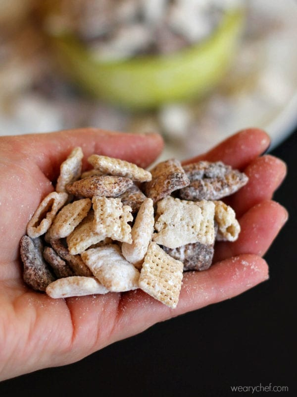 Black and White Chocolate Muddy Buddies - A blend of dark and white chocolate coated Chex cereal is tossed with powdered sugar for a fun and easy no-bake treat! Plus, it's gluten free!