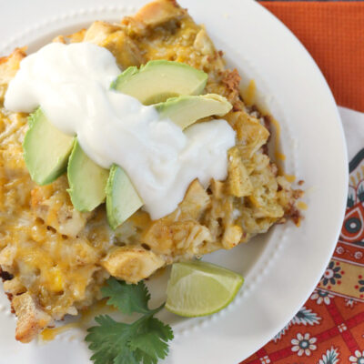 Green Chicken Enchilada Rice Casserole