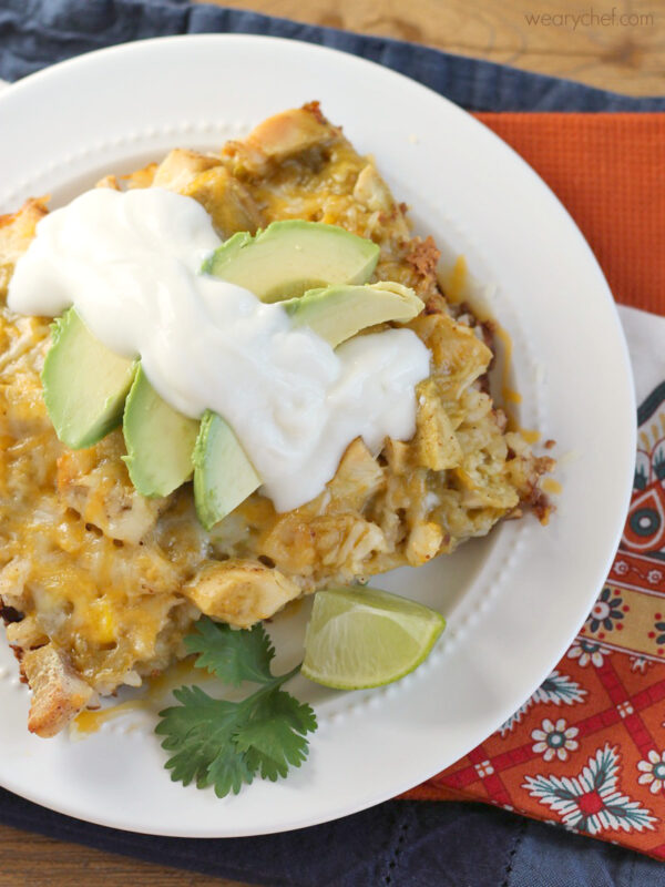 Chicken and Rice Enchilada Casserole - This hearty, delicious casserole is much easier to make than regular enchiladas but has all the flavor you love!
