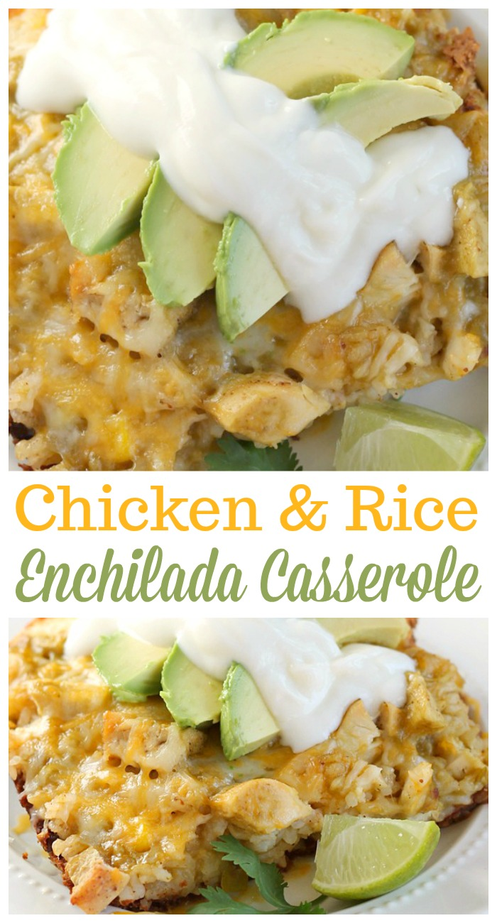 This hearty Chicken Enchilada Rice Casserole is a comforting dinner you'll want to make again and again! #casserole #enchilada #comfortfood #chicken